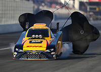 Feb 9, 2018; Pomona, CA, USA; NHRA funny car driver J.R. Todd during qualifying for the Winternationals at Auto Club Raceway at Pomona. Mandatory Credit: Mark J. Rebilas-USA TODAY Sports