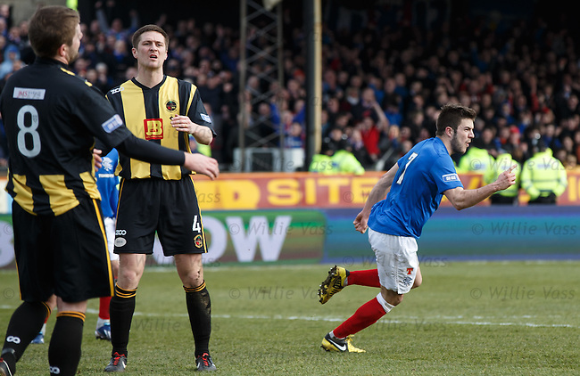 Andy Little celebrates his goal for Rangers
