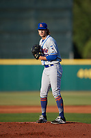 St. Lucie Mets starting pitcher Gabriel Llanes (22) gets ready to deliver a pitch during a game against the Florida Fire Frogs on April 19, 2018 at Osceola County Stadium in Kissimmee, Florida.  St. Lucie defeated Florida 3-2.  (Mike Janes/Four Seam Images)