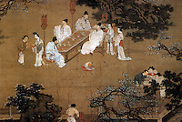 "Chinese Painting:  Detail from ""Peach and Pear Garden"" by Qiu Ying, Ming Dynasty.  Depicts a banquet where sages are gathered, waited upon by serving boys and girls.  CHINESE PAINTING."