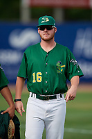 Beloit Snappers pitcher Jared Poche' (16) walks back to the dugout after a game against the Dayton Dragons on July 22, 2018 at Pohlman Field in Beloit, Wisconsin.  Dayton defeated Beloit 2-1.  (Mike Janes/Four Seam Images)