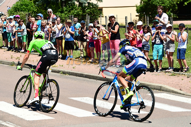 The breakaway group Dylan Van Baarle (NED) Cannondale-Drapac and Marco Minnaard (NED) Wanty Groupe-Gobert during Stage 5 of the Criterium du Dauphine 2017, running 175.5km from La Tour-de Salvagny to Macon, France. 8th June 2017. <br /> Picture: ASO/A.Broadway | Cyclefile<br /> <br /> <br /> All photos usage must carry mandatory copyright credit (&copy; Cyclefile | ASO/A.Broadway)