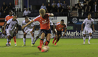Cameron McGeehan of Luton Town scores the winning goal with his second penalty during the Sky Bet League 2 match between Luton Town and Newport County at Kenilworth Road, Luton, England on 16 August 2016. Photo by Liam Smith.