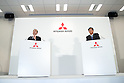 (L to R) Carlos Ghosn, Chairman and Chief Executive Officer of Nissan Motor Co., Ltd. and Osamu Masuko, Mitsubishi Motors Corporation (MMC) President and Chief Executive Officer speak during a press conference on October 20, 2016, Tokyo, Japan. Ghosn announced that Nissan completed its acquisition of a 34% equity stake in MMC for 237 billion yen, becoming its single largest shareholder. (Photo by Rodrigo Reyes Marin/AFLO)