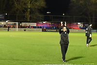 Manager Paul Hurst of Grimsby Town celebrates at the final whistle during the Vanarama National League match between Aldershot Town and Grimsby Town at the EBB Stadium, Aldershot, England on 5 April 2016. Photo by Paul Paxford / PRiME Media Images.