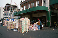 London:  Spitafields Market about 9 A.M.  when it all ends. Broadgate Development behind.  Photo '90.