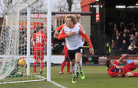 Cameron McGeehan of Luton Town celebrates his goal during the Sky Bet League 2 match between York City and Luton Town at Bootham Crescent, York, England on 27 February 2016. Photo by Liam Smith.