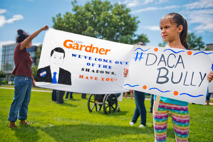 UNITED STATES - AUGUST 27: Seyri Hernandez, 8, participates in an action with Dreamers outside the Greeley office of Rep. Cory Gardner, R-Colo., to call for immigration reform, August 27, 2014. DACA is an acronym for Deferred Action for Childhood Arrivals. (Photo By Tom Williams/CQ Roll Call)