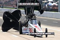 Apr 25, 2015; Baytown, TX, USA; NHRA top fuel driver Richie Crampton during qualifying for the Spring Nationals at Royal Purple Raceway. Mandatory Credit: Mark J. Rebilas-