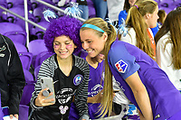 Orlando, FL - Saturday March 24, 2018: A fan takes a selfie with Orlando Pride forward Danica Evans (8) after a regular season National Women's Soccer League (NWSL) match between the Orlando Pride and the Utah Royals FC at Orlando City Stadium. The game ended in a 1-1 draw.