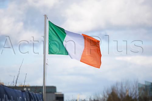 05.03.2016. RDS Arena, Dublin, Ireland. Guinness Pro 12 Rugby Championship. Leinster versus Ospreys. The Irish tricolours on a sunny Dublin day.