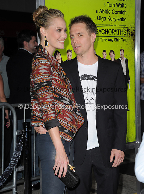 Leslie Bibb and Sam Rockwell at The CBS Films L.A. Premiere of Seven Psychopaths Premiere held at The Bruin Theatre in Westwood, California on October 01,2012                                                                               © 2012 Hollywood Press Agency