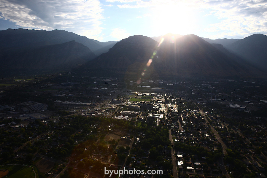 1309-22 0013<br /> <br /> 1309-22 BYU Campus Aerials<br /> <br /> West looking East, Provo, Sunrise<br /> <br /> September 6, 2013<br /> <br /> Photo by Jaren Wilkey/BYU<br /> <br /> &copy; BYU PHOTO 2013<br /> All Rights Reserved<br /> photo@byu.edu  (801)422-7322