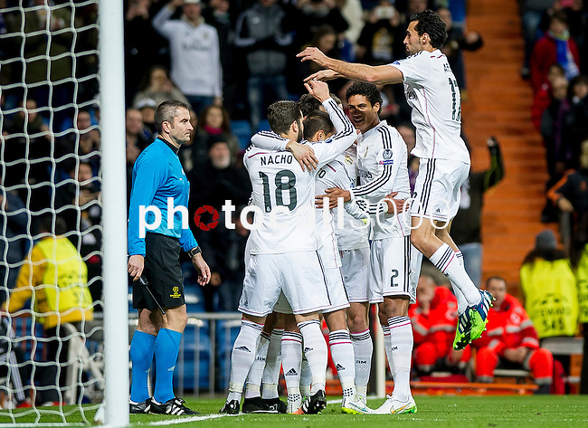 Real Madrid's team during the Champions league football match Real Madrid vs Ludogorets at the Santiago Bernabeu stadium in Madrid on december 9, 2014. Samuel de Roman / Photocall3000.