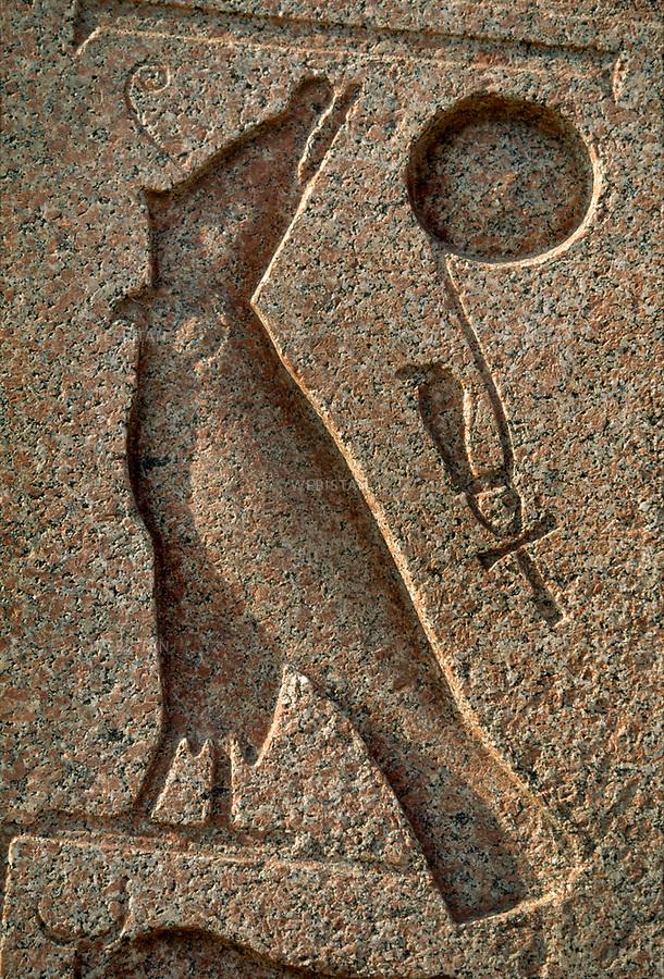 Egypt. Nile delta. Mysterious Tanis. June 1996. Obelisk detail, Horus, the God falcon, put on with pschent..Egypte. Delta du Nil. Mysterieuse Tanis. Juin 1996. Detail de l'obelisque, Horus le dieu faucon, coiffe du pschent.