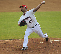 June 21, 2008: LHP Odalis Perez (45) of the Washington Nationals, playing in a rehab assignment with the Class A Potomac Nationals, in a game against the Frederick Keys at G. Richard Pfitzner Stadium in Woodbridge, Va. Photo by:  Tom Priddy/Four Seam Images