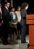 Chicago, IL - December 15, 2008 -- United States President-elect Barack Obama (L) listens to Nancy Sutley (R), after he chose her to be head of the White House Council on environmental quality as Lisa Jackson (2nd from left), his choice for Environmental Protection Agency (EPA) and Carol Browner (2nd from right),  the choice to lead a new council to coordinate White House energy, climate and environment policies look in Chicago, Illinois on Monday, December 15, 2008..Credit: Jeff Haynes / CNP