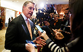 United States Senator David Perdue (Republican of Georgia) talks to reporters in the lobby of Trump Tower following a meeting with President-elect Donald Trump in New York, New York, USA, 02 December 2016.<br /> Credit: Justin Lane / Pool via CNP