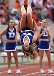 30 September 2006: A Duke cheerleader does a flip. The Duke University Blue Devils lost 37-0 to the University of Virginia Cavaliers at Wallace Wade Stadium in Durham, North Carolina in an Atlantic Coast Conference NCAA Division I College Football game.