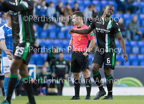 St Johnstone v Hibs &hellip;09.09.17&hellip; McDiarmid Park&hellip; SPFL<br />Marvin Bartley complains after a late free kick is conceded for a foul on Steven MacLean<br />Picture by Graeme Hart.<br />Copyright Perthshire Picture Agency<br />Tel: 01738 623350  Mobile: 07990 594431
