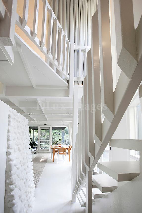 white stair banister