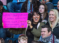 Fans of the show display signs for the Stars of the show during The Impractical Jokers (Hit US TV Comedy) filming at Wycombe Wanderers FC at Adams Park, High Wycombe, England on 5 April 2016. Photo by Andy Rowland.