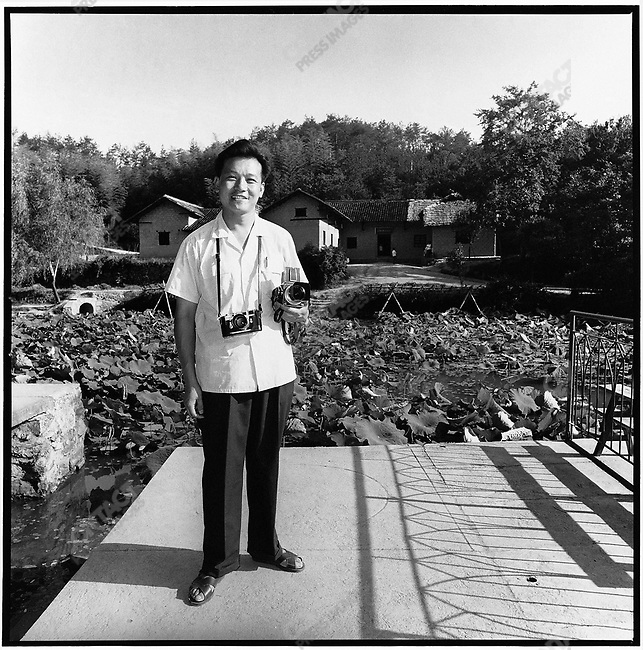 Li in front of Mao's birthplace of Shaoshan in Hunan province (photograph by Tang Dabai).  3 June 1972