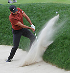 Cromwell, CT-23 JUNE 23 2017-062317MK04 Jason Day chips out the sand trap along the 18th green Friday afternoon at the 2017 Travelers Championship at the TPC River Highlands in Cromwell.  Michael Kabelka / Republican-American