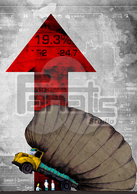 Conceptual image representing inflation in market