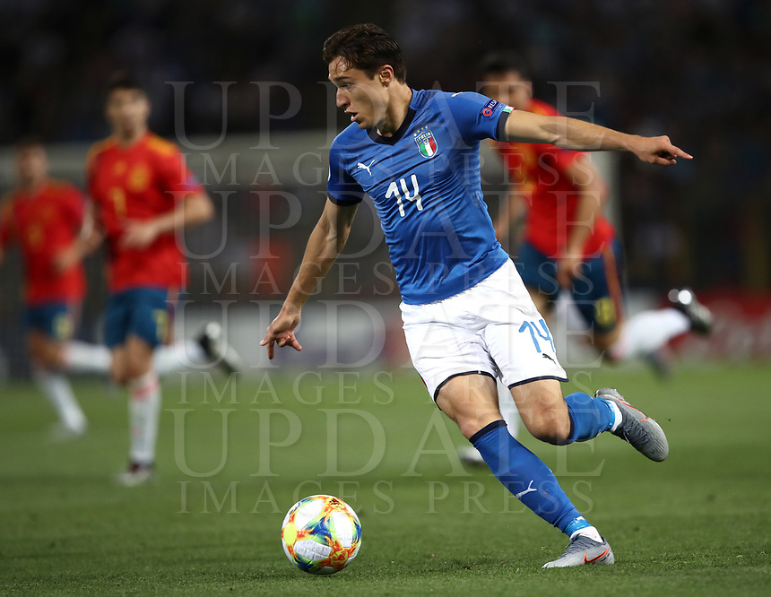 Football: Uefa European under 21 Championship 2019, Italy - Spain Renato Dall'Ara stadium Bologna Italy on June16, 2019.<br /> Italy's Federico Chiesa in action during the Uefa European under 21 Championship 2019football match between Italy and Spain at Renato Dall'Ara stadium in Bologna, Italy on June16, 2019.<br /> UPDATE IMAGES PRESS/Isabella Bonotto