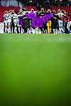 16.03.2019, Stadion Essen, Essen, GER, AFBL, SGS Essen vs TSG 1899 Hoffenheim, DFL REGULATIONS PROHIBIT ANY USE OF PHOTOGRAPHS AS IMAGE SEQUENCES AND/OR QUASI-VIDEO<br /> <br /> im Bild | picture shows:<br /> Mannschaftskreis der SGS nach dem Spiel, <br /> <br /> Foto &copy; nordphoto / Rauch