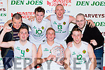 The St Brendan's team celebrate after winning the Division 1 Mens  at the St Marys basketball blitz finals in Castleisland on Wednesday front row l-r: Feragl O'Sullivan, Darren O'Sullivan, Rob Mulcahy. Back row: Pa Kerin Chairman, Michael O'Donnell, Kieran Donaghy and Gary Moran