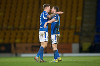 12th February 2020; McDairmid Park, Perth, Perth and Kinross, Scotland; Scottish Premiership Football, St Johnstone versus Motherwell; Jason Kerr and Anthony Ralston of St Johnstone celebrate at the end of the match
