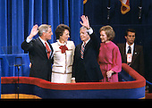 United States President Jimmy Carter, center right, and US Vice President Walter Mondale, left, and their wives, first lady Rosalynn Carter, right, and Joan Mondale, center left, wave to the crowd after delivering their acceptance speeches at the 1980 Democratic National Convention in Madison Square Garden in New York, New York on August 13, 1980.<br /> Credit: Arnie Sachs / CNP
