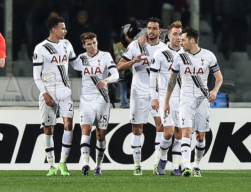 18.02.2016. Florence, Italy. UEFA Europa League football. Fiorentina versus Tottenham Hotspur.  Nacer Chadli celebrates scoring the games first goal from a penalty