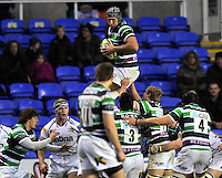 Reading, England. Bryn Evans (capt.) of London Irish wins high ball during the LV= Cup match between London Irish and Sale Sharks at Madejski Stadium on November 11, 2012 in Reading, England.