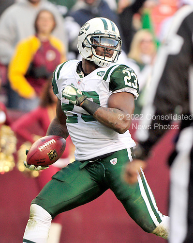 New York Jets running back Shonn Greene (23) looks back after breaking loose for the final touchdown against the Washington Redskins at FedEx Field in Landover, Maryland on Sunday, December 4, 2011.  The Jets won the game 34 - 19..Credit: Ron Sachs / CNP.(RESTRICTION: NO New York or New Jersey Newspapers or newspapers within a 75 mile radius of New York City)