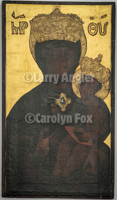 Icons in the museum at the Monastery Mileševa, Serbia originally built in the 13th century.  A black madonna from the Coptic Orthodox church in the collection.