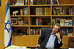 Israel's Defense Minister Ehud Barak, at his office in Tel Aviv, Israel, Wednesday November 19, 2008.<br /> <br /> (Photo by Ahikam Seri)