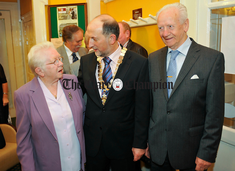 INTO President Declan Kelleher greets special guests Cotty O Shea, daughter of Micheal O Shea, the teacher involved in the Fanore National School 1914 case, with her partner Donal Kearney, at the INTO Presidents Dinner Dance in the Falls Hotel, Ennistymon. Photograph by John Kelly.