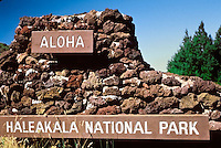 HALEAKALA NATIONAL PARK entrance sign circa prior to 1995