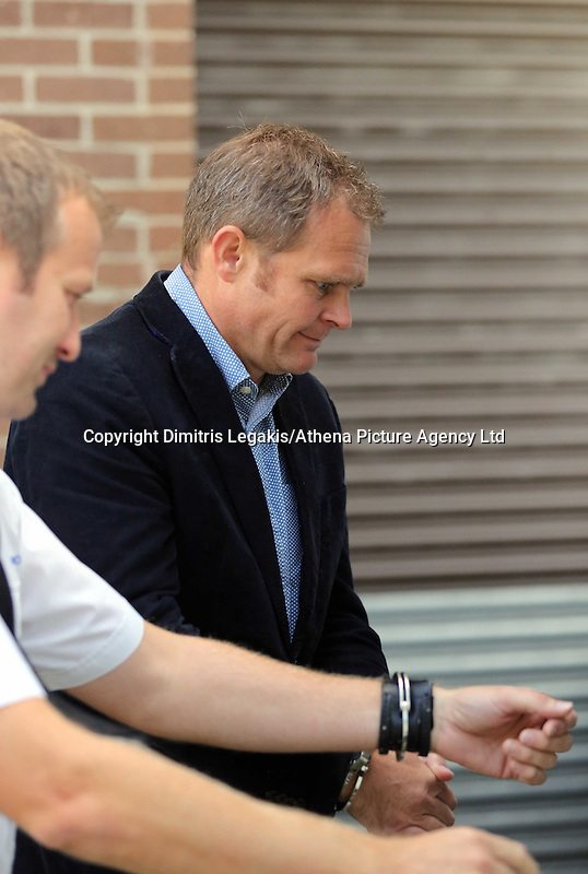 Pictured: Matthew Hargreaves (R) is taken away in a prison van after the hearing at Merthyr Tydfil Crown Court. Friday 16 September 2016<br /> Re: Rogue traders Matthew Hargreaves and John Barry Hargreaves have been jailed for 18 months and Jean Hargreaves has been given  suspended sentence by Merthyr Tydfil Crown Court for selling a teeth whitening product with harmful levels of hydrogen peroxide, 110 times the legal limit, after a three year nationwide investigation by Powys County Council&rsquo;s Trading Standards Service culminated in guilty pleas being entered by three Manchester based rogue traders. <br /> Charges relating to Fraud and Consumer Protection offences were pursued relating to the sale of unsafe teeth whitening products across the UK.
