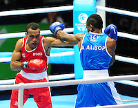 Seychelles' Andrique Allisop (blue) defeats Papua New Guinea's Tom Boga (red) in their men's light (62kg) round of 32. <br /> <br /> Photographer Chris Vaughan/CameraSport<br /> <br /> 20th Commonwealth Games - Day 3 - Saturday 26th July 2014 - Boxing - SECC - Glasgow - UK<br /> <br /> © CameraSport - 43 Linden Ave. Countesthorpe. Leicester. England. LE8 5PG - Tel: +44 (0) 116 277 4147 - admin@camerasport.com - www.camerasport.com