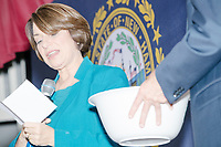 Democratic presidential candidate and Minnesota senator Amy Klobuchar draws written questions from a bowl at a town hall campaign event at the Londonderry Senior Center in Londonderry, New Hampshire, on Wed., October 16, 2019. Klobuchar said that this method for the q&a gets more questions from women. The event was part of a 10-county tour of New Hampshire and started the day after the 4th Democratic debate, in which analysts said Klobuchar performed well.