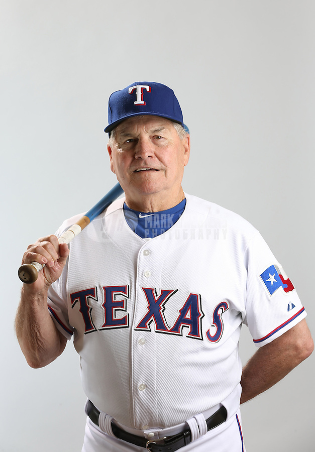 Feb. 20, 2013; Surprise, AZ, USA: Texas Rangers bench coach Jackie Moore poses for a portrait during photo day at Surprise Stadium. Mandatory Credit: Mark J. Rebilas-