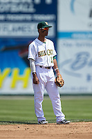Lynchburg Hillcats shortstop Ivan Castillo (12) on defense against the Frederick Keys at Calvin Falwell Field at Lynchburg City Stadium on May 14, 2015 in Lynchburg, Virginia.  The Hillcats defeated the Keys 6-3.  (Brian Westerholt/Four Seam Images)