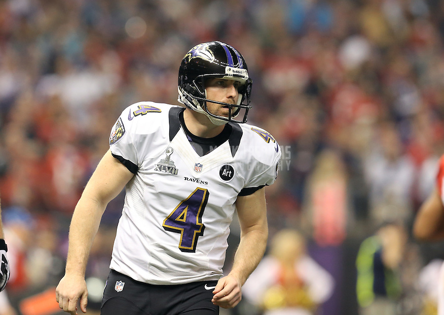 Feb 3, 2013; New Orleans, LA, USA; Baltimore Ravens punter Sam Koch against the San Francisco 49ers in Super Bowl XLVII at the Mercedes-Benz Superdome. Mandatory Credit: Mark J. Rebilas-
