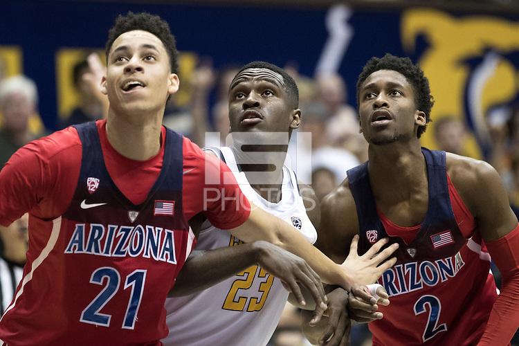 BERKELEY, CA - December 30, 2016: Cal Bears Men's Basketball team vs. the Arizona Wildcats at Haas Pavilion. Final score, Cal Bears 62, Arizona Wildcats 67.