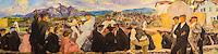 France, Aquitaine, Pyrénées-Atlantiques, Pays Basque, Bayonne: Musée Basque , Partie de Pelote à Urrugne,  Dufau Clémentine-Hélène, (Huile sur Toile 1923 ) //  France, Pyrenees Atlantiques, Basque Country, Bayonne: Basque museum, Part Pelota in Urrugne, Clémentine-Hélène Dufau (Oil on Canvas 1923)