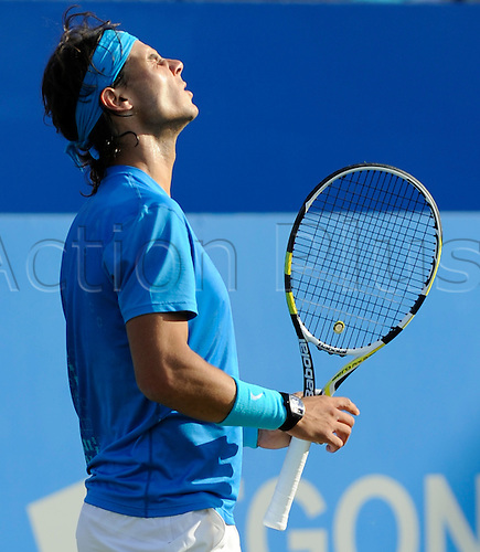 09.06.2011 The AEGON Championships from Queens Club in London. Rafael Nadal of Spain shows his frustration after losing a point in his match against Radek Stepanek of the Czech Republic on day four of the Aegon Championships at the Queen's Club.